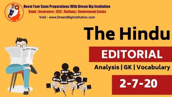 The Hindu Editorial Vocabulary 2 July 2020
