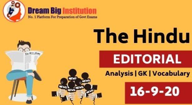 The Hindu Editorial VOCAB 16 September 2020