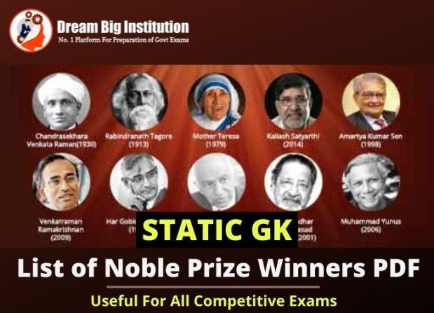 Indian Nobel Prize Winners List