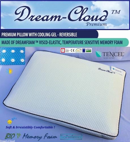 dream cloud premium cooling ventilated bio memory foam pillow 60x40x16cm 24x16x6 5in