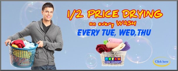 dream coin laundry half price drying promotion