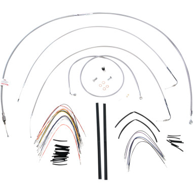 Cable/Brake Line Kit Braided S/S for 18 Apes FXST 07-10