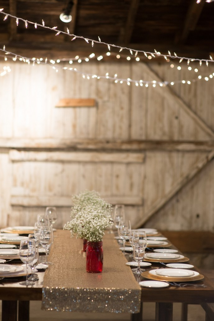 saugatuck weddings, Saugatuck Wedding Planner, Dream Day Weddings famhouse table with gold runner and red ball ajrs
