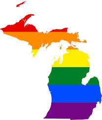 elope in saugatuck with pride, michigan state map with pride flag colors