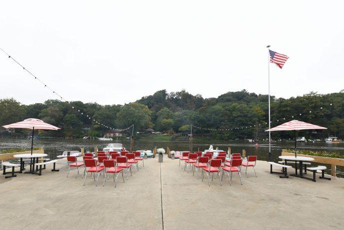 outdoor retro boat wedding set-up