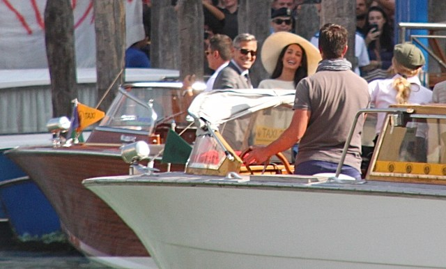 Mr and Mrs Clooney share a joke