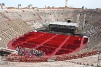 Photo of Verona's ancient Roman arena as it is being prepared to host a pop concert
