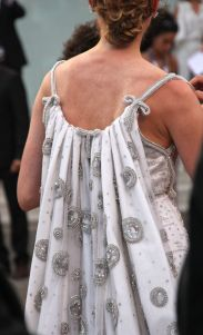 Diane Kruger wows the Venice Film Festival in a silver and white full length, caped dress by Prada couture