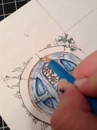 Adding watercolor pencil over a blue watercolor wash.