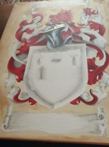 Grays added to the shield, felurs and banners.