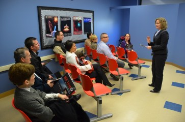 Guests are briefed about their mission before joining the student crew onboard the IKS Titan.