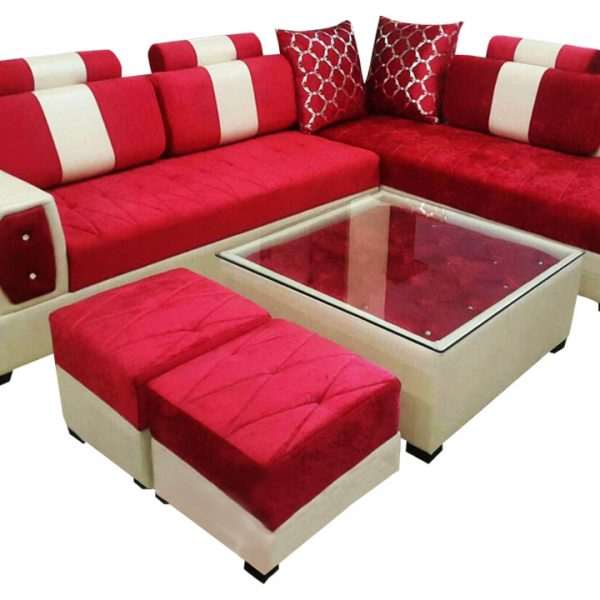 Delroy L Shape Sofa SetCenter Table And 2 Puffy  Dream