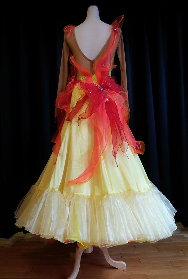 S930 Yellow Orange Red Standard Dance Costume For Sale