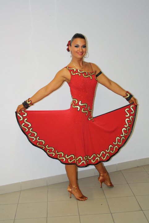 M052 Red Gold Black Latin Dance Dress for sale  Dreamgown
