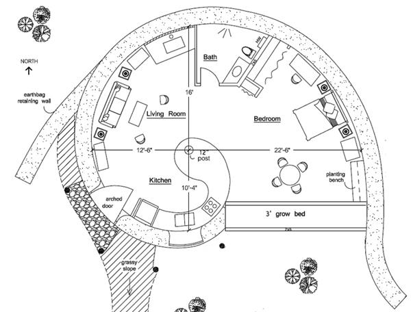 Spiral Earthbag House Plan