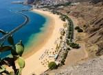 "Aerial view of the beautiful artificial beach ""Las Teresitas"". Municipality Santa Cruz de Tenerife, Tenerife, Canary Islands, Spain"
