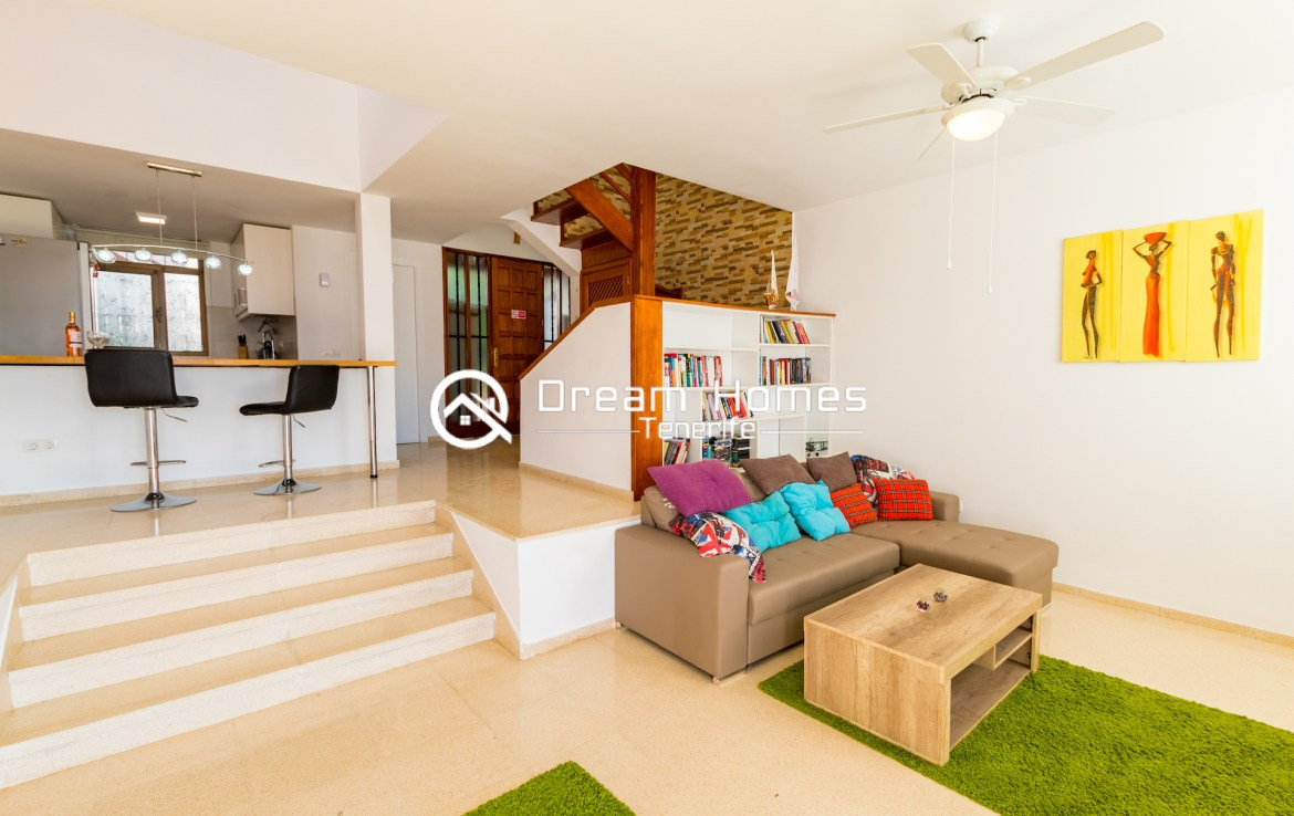 Fantastic Oceanview Penthouse For Rent in Los Gigantes Living Room Real Estate Dream Homes Tenerife