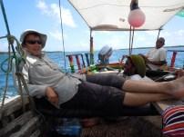 Michael, Coconut, and Captain Bubu - sailing around Lamu Island