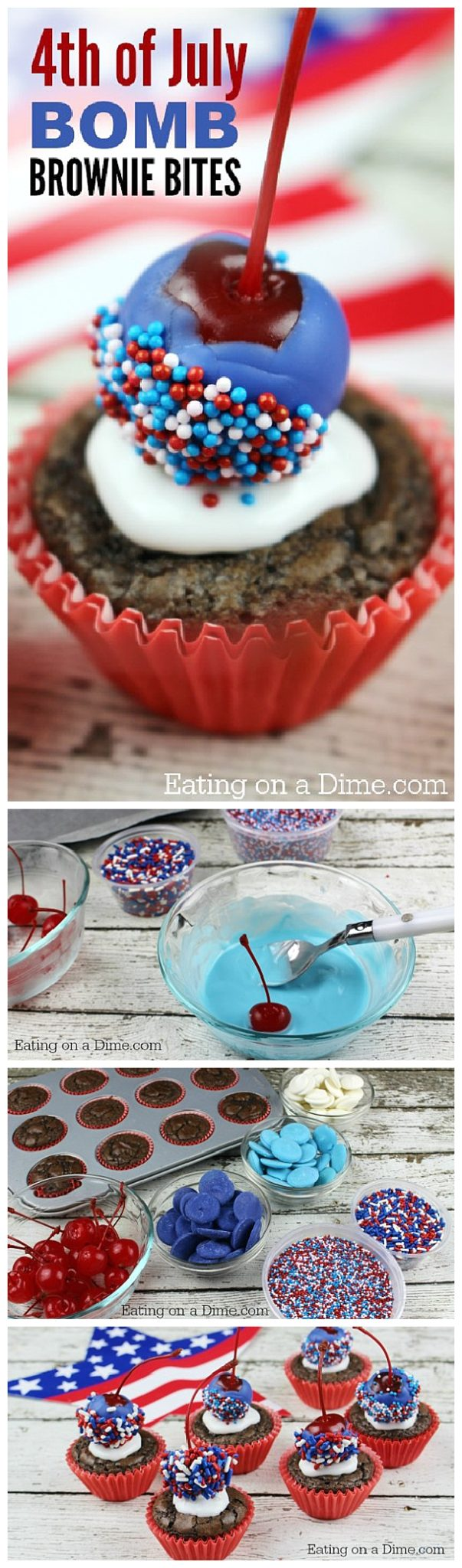 4th of July Brownie Bombs Patriotic Dessert Treats Recipe and Tutorial - Explosively YUMMY with a Cherry on Top! via Eating on a Dime
