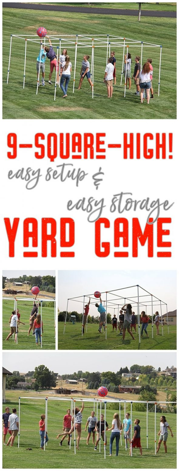 9 Square High Outdoor Party Yard Game and Game Rules - Easy setup and easy storage and SO FUN! Have you played 9-square-high! yet? There's nothing better than seeing a bunch of family, friends, young, old, tall and small play this fun game. Once they start playing, they can't stop! via 9SquareByDJ