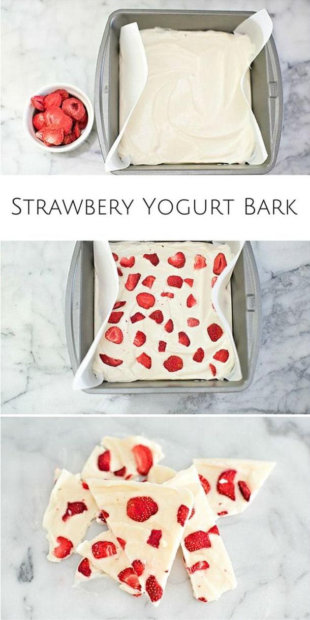 Healthy Snacks - Strawberry Yogurt Bark Recipe via Hello Wonderful