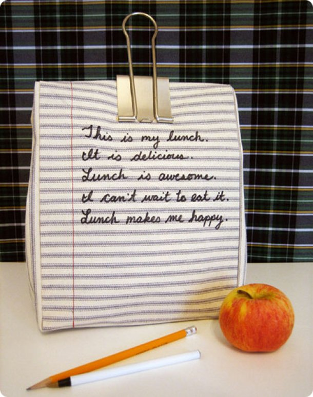DIY Back to School Projects for Teens and Tweens Handmade Do it Yourself NOTEBOOK LUNCHBAG - EASY Pattern and Tutorial via Design Sponge