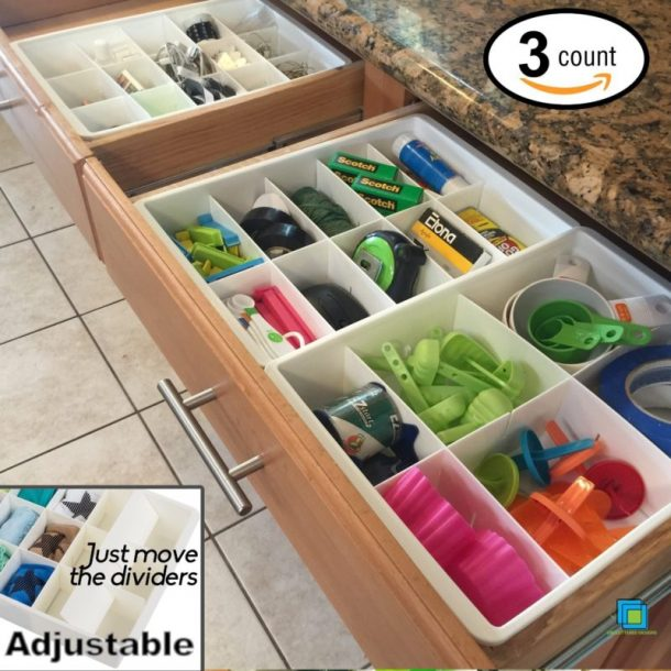 Easy Tips to Organize the Kitchen - Use Adjustable Dividers to get the JUNK DRAWER under control and organized