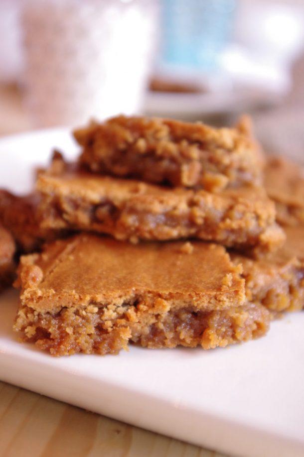 Prison Blondies Blonde Brownies Dessert Treat Recipe Serve warm with Milk