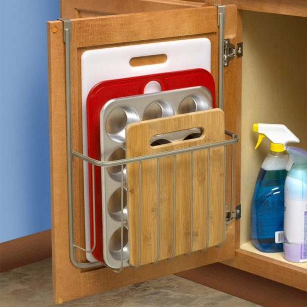 Tips to Organize Every Room in the House - Install over the cabinet wire racks to create storage for cutting boards and pans inside cabinet doors