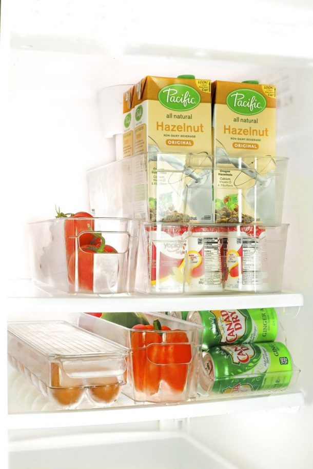 Tips to Organize Every Room in the House - Use Clear Fridge and Freezer Bins to keep your food organized and accessible