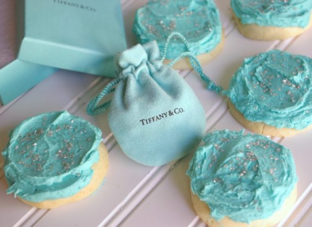 Cookies with Tiffany Jewelry Bag Vanilla Lemon Greek Yogurt Moist and perfect Sugar Cookies with Tiffany Blue Frosting Recipe and Tutorial