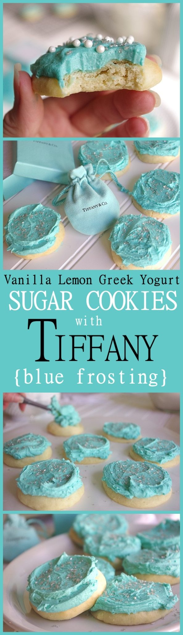 NO ROLLING and NO REFRIGERATION down time - Yummy Vanilla Lemon Greek Yogurt Moist and perfect Sugar Cookies with Tiffany Blue Frosting Recipe and Tutorial - These are SO pretty and over the top lightly lemony YUMMY! 30 minutes tops from start to your first pan out of the oven.