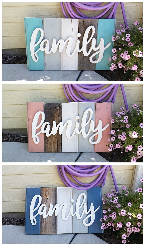 DIY Family Word Art Sign Woodworking Project Tutorial - 3 color schemes of New Wood Distressed to look like weathered Barn Wood Home Decoration