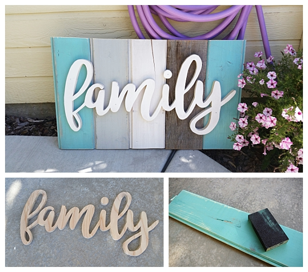DIY Family Word Art Sign Woodworking Project Tutorial - Turquoise Tones New Wood Distressed to look like weathered Barn Wood Home Decoration