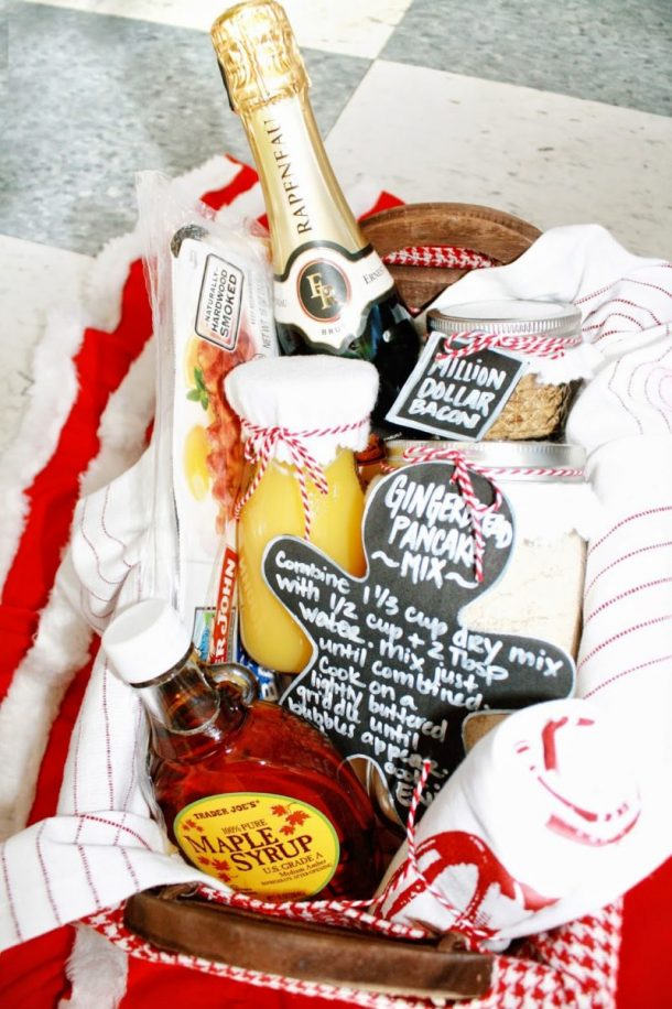 FUN Holiday Gingerbread pancakes and Mimosas DIY Breakfast Gift Basket Idea via Curly Q Paper - Do it Yourself Gift Baskets Ideas for All Occasions - Perfect for Christmas, Thank you gifts, Birthdays or anytime!