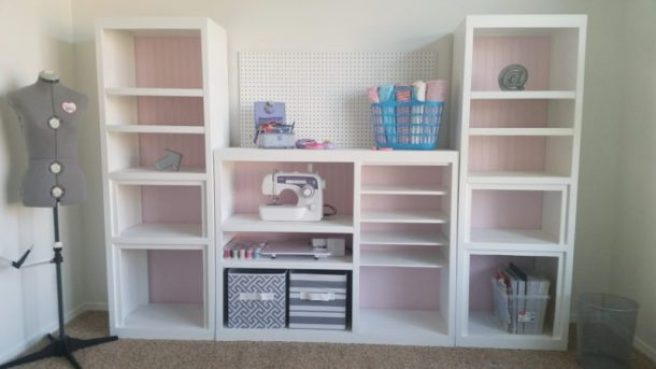 AFTER picture - DIY 90s Entertainment Center Turned Craft Room Storage Organizer Wall Unit Furniture Makeover - Do it Yourself Project Tutorial