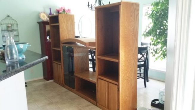 BEFORE PIC DIY 90s Entertainment Center Turned Craft Room Storage Organizer Wall Unit Furniture Makeover - Do it Yourself Project Tutorial