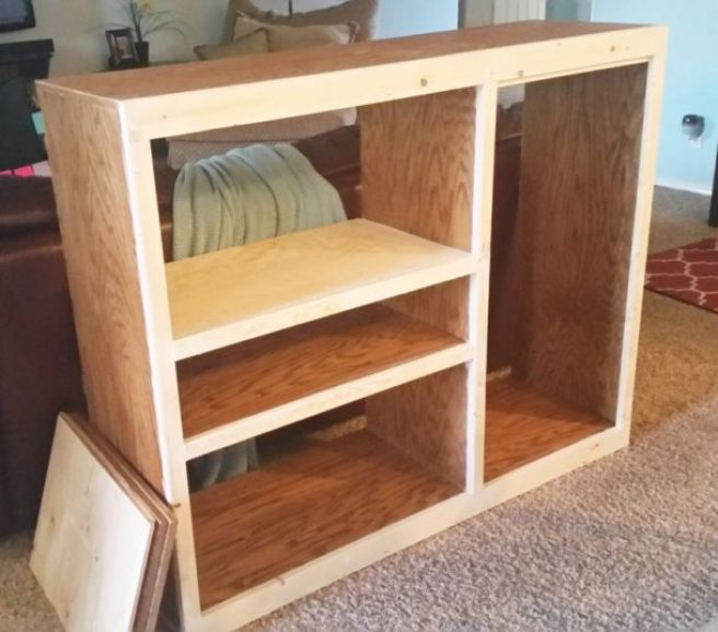 DIY 90s Entertainment Center Turned Craft Room Storage Organizer Wall Unit Furniture Makeover - Refaced new front - Do it Yourself Project Tutorial