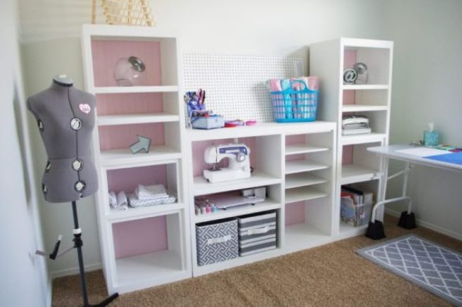 DIY 90s Entertainment Center Turned Craft Storage Organizer Wall Unit Makeover Do it Yourself Project Tutorial Full Length