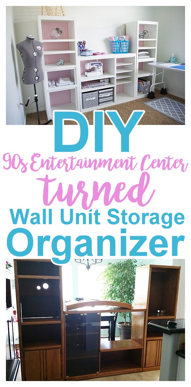 DIY 90s {Ugly} Oak Entertainment Center Turned {Pretty!} Craft Storage Organizer Wall Unit Makeover Do it Yourself Project Tutorial Furniture Makeover