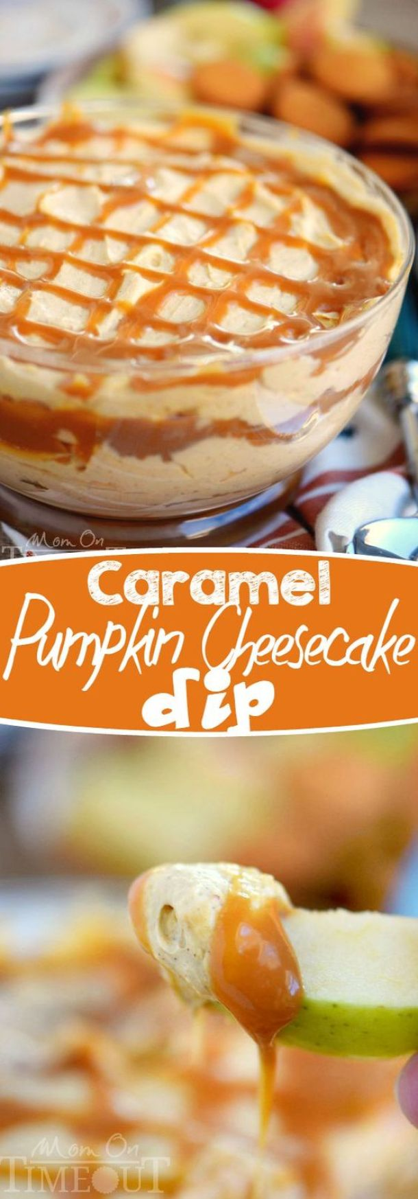 This easy to make, over the top all dessert table treat will have everyone coming back for seconds! Caramel Pumpkin Cheesecake Dip Recipe | Mom On Timeout