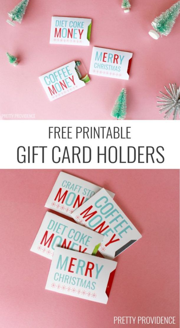 Christmas Gift Card Sleeves - Free Printables to hold a variety of fun gift cards for the holidays! | Pretty Providence