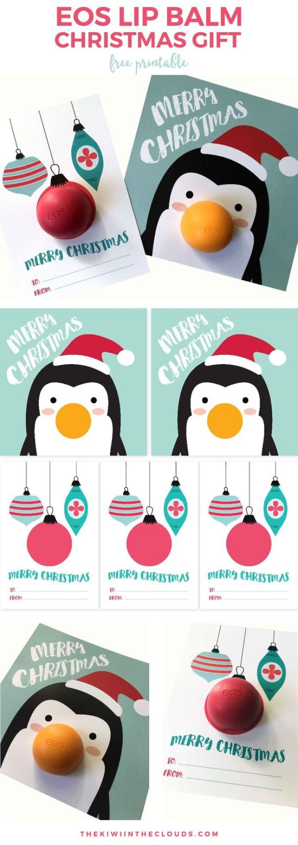 Darling Penguin and Ornaments EOS LIP BALM Christmas Gift FREE Printable Cards - just attach the lip balm for the cutest quick Christmas gift! | Kiwi in the Clouds - The BEST Christmas and Holiday FREE Printables - Gift Tags - Gift Card Holders - Christmas Greeting Cards and more FREE Downloadable Printables for the Holiday Seasons