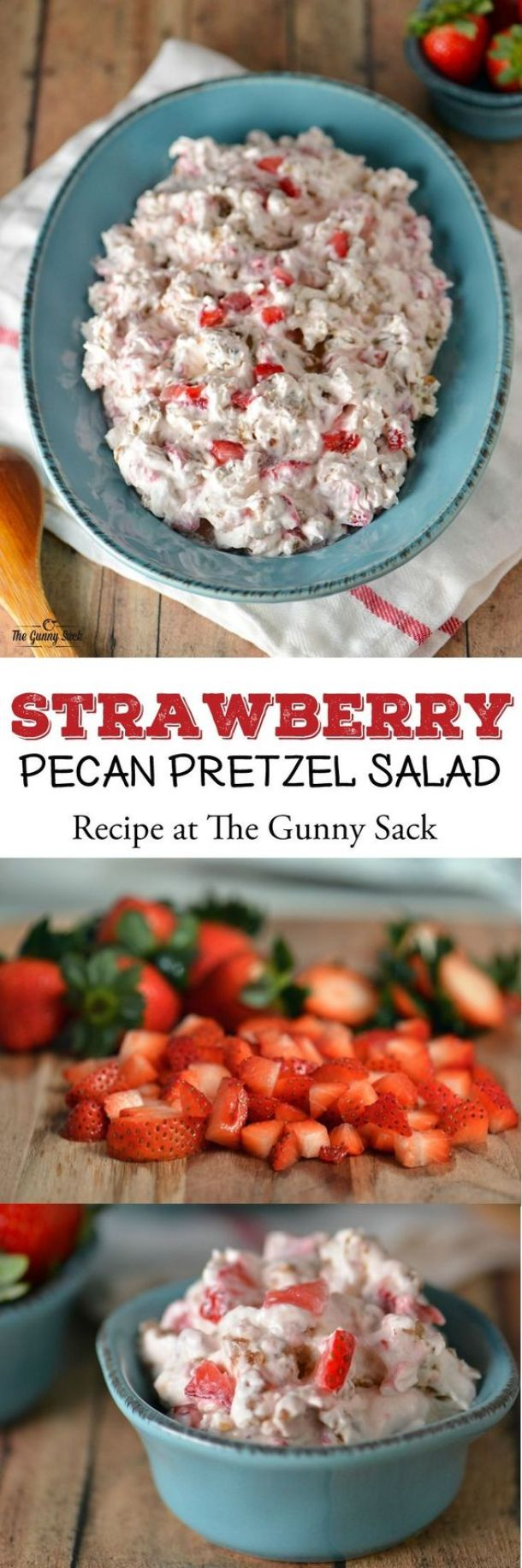 Strawberry Pecan Pretzel Salad Recipe | The Gunny Sack - The BEST Classic, Improved and Traditional Thanksgiving Dinner Menu Favorites Recipes - Main Dishes, Side Dishes, Appetizers, Salads, Yummy Desserts and more!