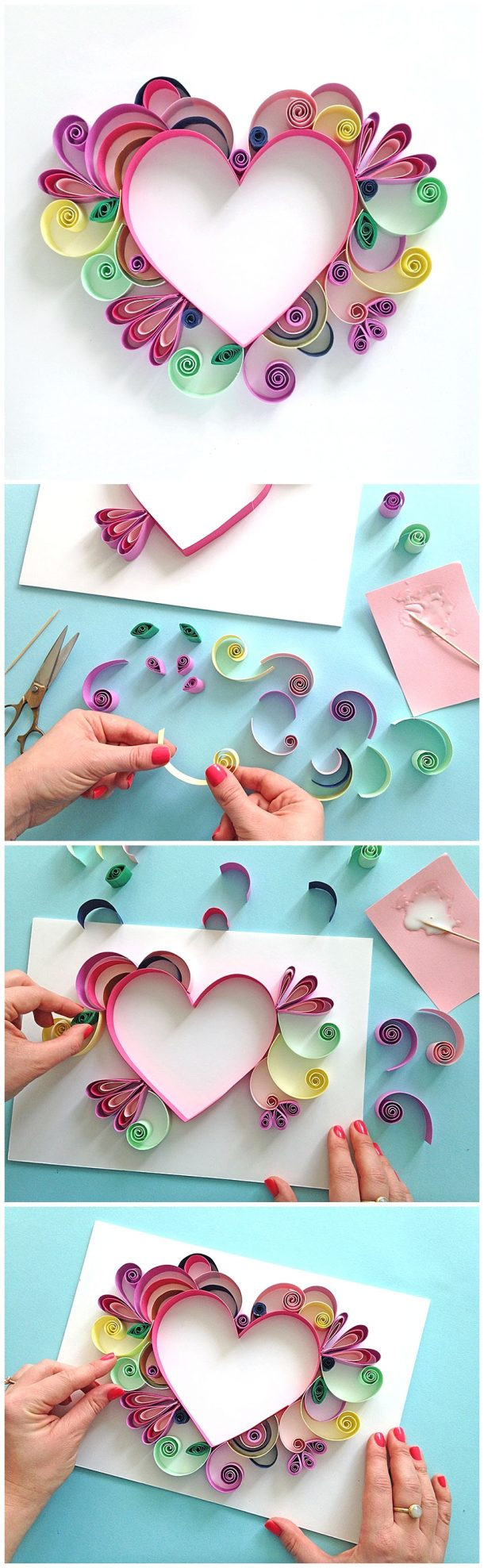 Learn How to Quill a darling Heart Shaped Handmade work of art to frame or use as a pretty handmade Greeting Card!  Paper Craft Gift Idea via Paper Chase