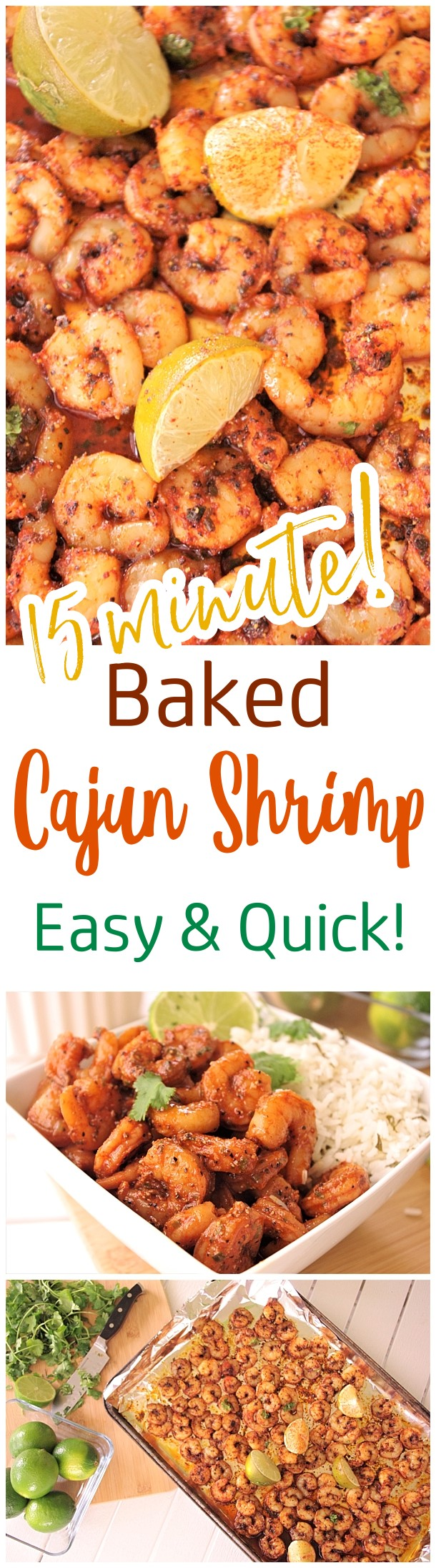 Baked Sheet Pan Cajun Shrimp Recipe - 15 minutes and so delicious! Use it in tacos, meal prep bowls, or over rice or noodles. So versatile and the flavor is so yummy you'll want to eat the entire pan by itself! - Dreaming in DIY #sheetpansuppers #bakedshrimp #cajunshrimp #bakedcajunshrimp #easylunches #easydinners #shrimprecipes #shrimp