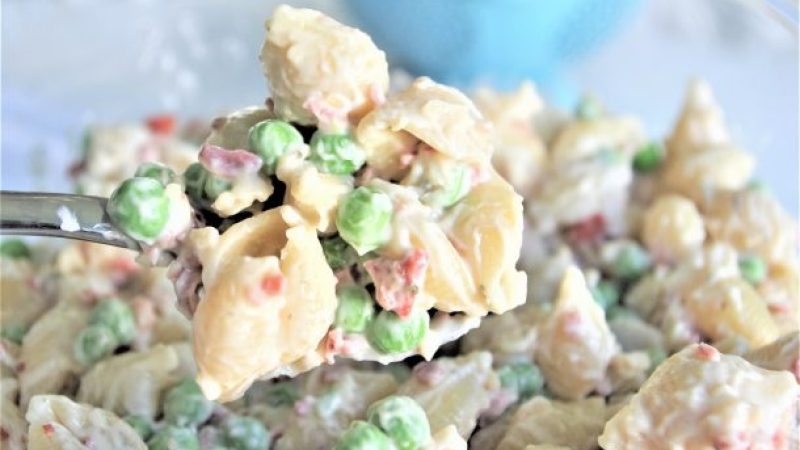 Easy Bacon Pea Ranch Pasta Salad Recipe Spoonful - Yummy and perfect for potlucks and barbecues - Dreaming in DIY