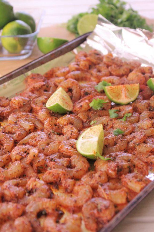 Raw Sheet Pan Cajun Lime Shrimp Baked 15 Minute Dinner Recipe via Dreaming in DIY
