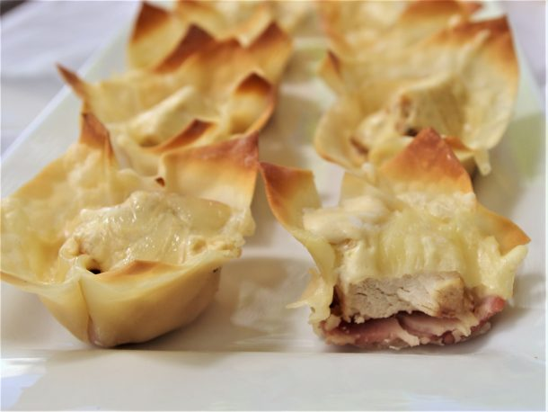 Chicken Cordon Bleu Cups - Easy Yummy Bite Sized Appetizer Recipe via Dreaming in DIY - Inside and Out Crowd Pleasers