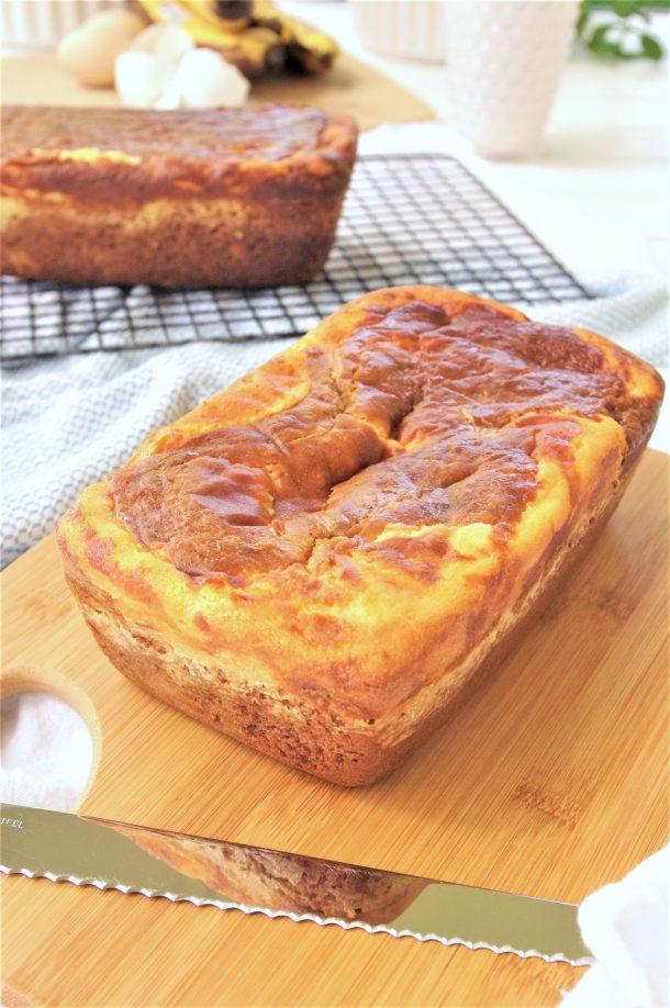 Easy Cream Cheese Swirled Banana Dessert Bread Loaf made with Greek Yogurt Recipe - so moist and yummy - by Dreaming in DIY